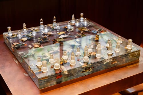 Sculptures by Dustin Yellin seen at The Vine, New York - Chessboard Collage 64