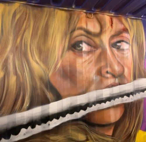 Murals by artistraman seen at Burger Warfare, Greensboro - Kill Bill Mural
