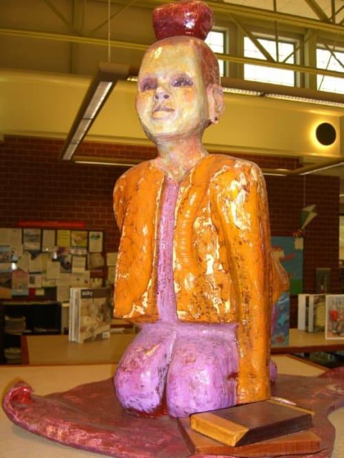 Sculptures by Pam Cobb seen at Cordova Library, Memphis - Magic Carpet Girl