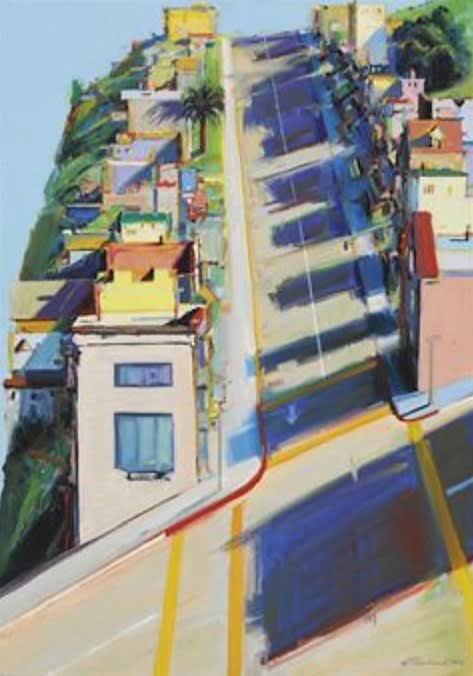 Paintings by Wayne Thiebaud seen at San Francisco Museum of Modern Art - SFMOMA, San Francisco - Ripley Street Ridge