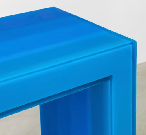 Tables by Facture Studio at Independent Lodging Congress, in the William Vale NYC, Brooklyn - Console Table (blue)