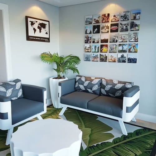 Wall Hangings by Photoblox seen at Private Residence, Cape Town - Wooden Travel Wall Tiles