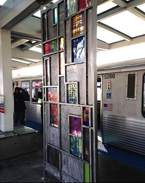 Art & Wall Decor by Thomas Lucas seen at 87th Street Red Line Station, Chicago, IL, Chicago - Time Traveler no. 1