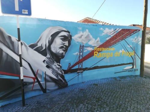"Murals by Luis Baldini seen at A Rampa do Pragal, Almada - ""Cristo Rei in Pragal"" Mural"