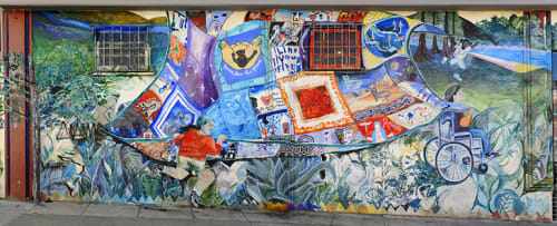Street Murals by Sam McWilliams seen at Godeus St, Bernal Heights, San Francisco - Godeus Community Quilt