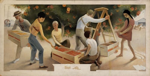 Murals by Paul Hull Husted (Paul Julian) seen at United States Postal Service - Fullerton, Fullerton - Orange Pickers