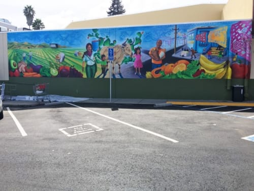 Murals by Max Marttila seen at Grocery Outlet Bargain Market, San Francisco - Heart of an Ox