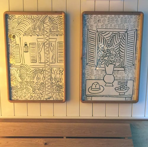Murals by Wayne Pate seen at Upland, New York - Framed Drawing