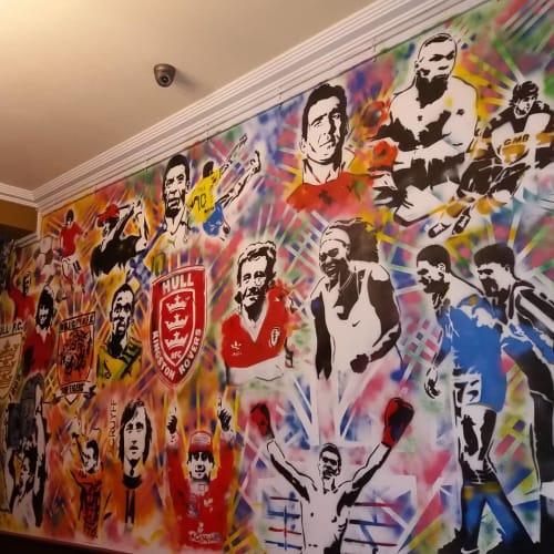 Murals by Steve Rickard seen at Oscars Bar, Hull - Sports Legends Wall
