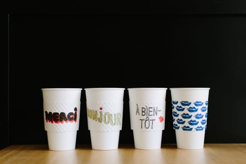 Signage by Clare V. seen at Alfred Coffee (Silverlake), Los Angeles - Custom Coffee Cup Sleeves