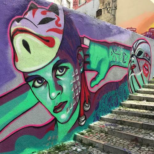 Painted Mural | Street Murals by Fabifa | Augusto Gil Garden in Lisboa