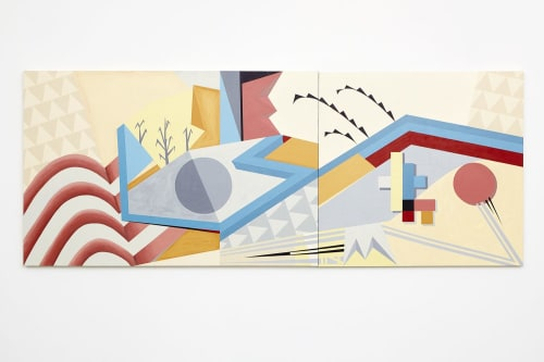 Murals by Jan Christopher Berkson seen at Ragdale Foundation, Lake Forest - Sympathy For the City