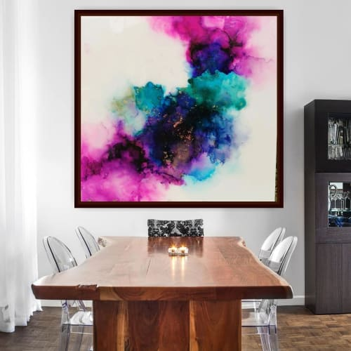 Paintings by DivineSutra – Ipshita Shetty seen at Private Residence - Abstract Pink and Blue Painting