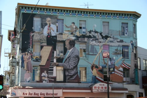Murals by Bill Weber seen at New Sun Hong Kong Restaurant, San Francisco - Jazz