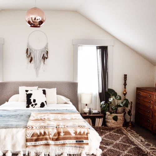 Pillows by Amber Seagraves seen at Missoula Residence, Montana, Missoula - Lena Cowhide Pillow
