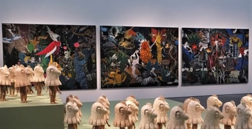 Paintings by Rodel Tapaya seen at National Gallery of Australia, Parkes - The promise land: the moon, the sun, the stars