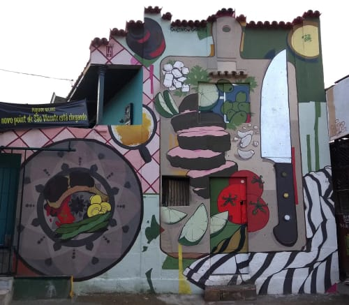 Murals by Shesko seen at Private Residence, São Vicente - CHURRAS GRILL