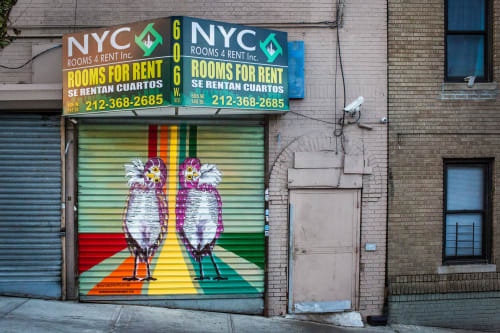 Street Murals by Jana Liptak seen at 606 West 145 Street, New York - Burrowing Owl