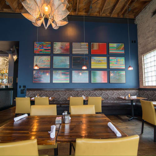Paintings by Arnaldo Coen seen at Yxta Cocina Mexicana, Los Angeles - Flag Series