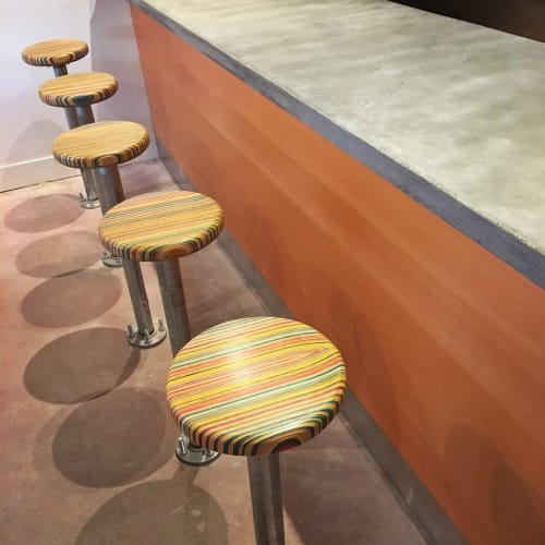 Chairs by Iris Skateboards seen at Raymond's Pizzeria, Richmond - Recycled Skateboard Stool