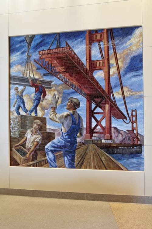 Murals by Owen Smith seen at Laguna Honda Hospital and Rehabilitation Center, San Francisco - Building the Iron Horse