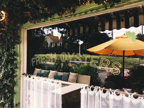 Signage by Joe Swec seen at Hillside Farmacy, Austin - Fresh Oysters