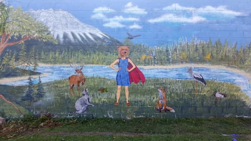 Street Murals by Magnus Champlin seen at Rochester, NY, Rochester - Wonder Woman Bear-like Mural