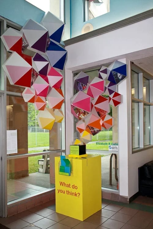 "Sculptures by Elizabeth Gahan seen at South Park Community Center, Seattle - ""Honeycomb"""