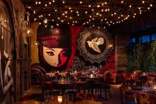 Murals by Frank Shepard Fairey seen at Vandal, New York - Mask Girl
