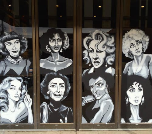 "Murals by Sheridan Furrer seen at Landmark's Esquire Theatre, Denver - ""Silver Screen Divas"""