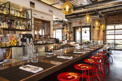 Tables by Studio Unltd seen at Bestia, Los Angeles - Raw-copper Bar Top