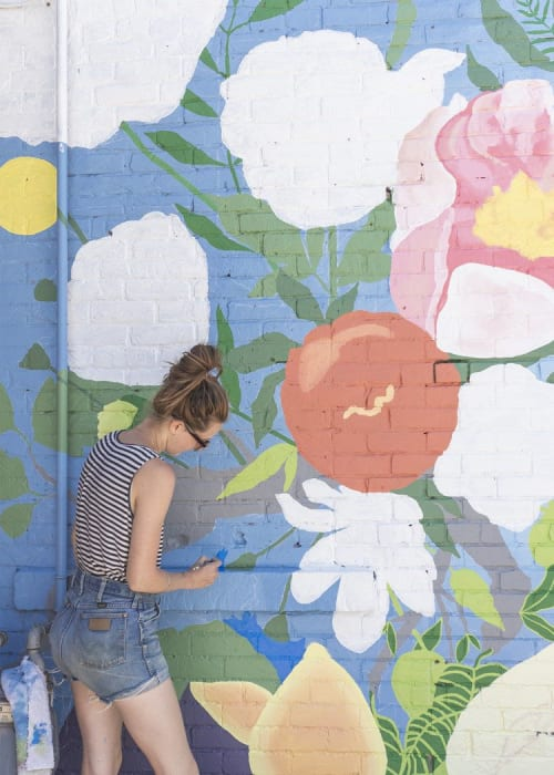 Murals by Koe Design seen at Thuya Studio, Hamilton - Floral mural