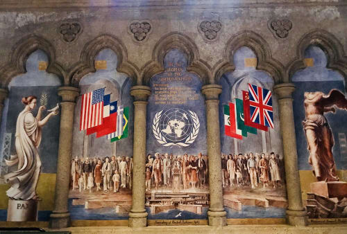 Murals by John De Rosen seen at Grace Cathedral, San Francisco - Founding of United Nations 1945