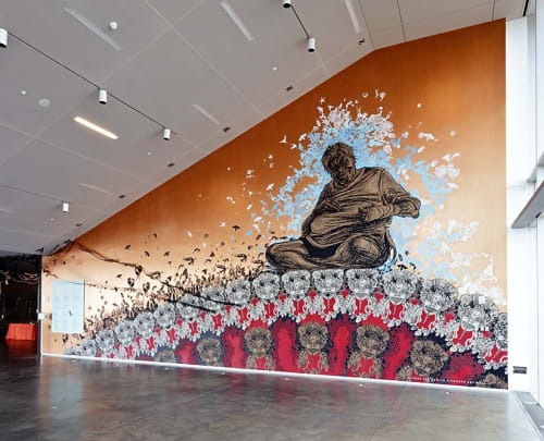 Murals by Callie Curry aka Swoon seen at Institute of Contemporary Art/Boston (ICA), Boston - Anthropocene Extinction