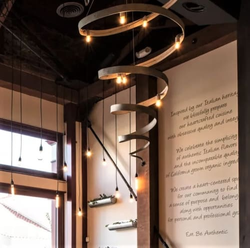 Chandeliers by Wine Country Craftsman seen at Ca' Momi Osteria, Napa, Napa - Spiral Chandelier