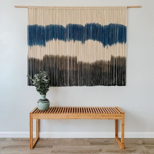 Macrame Wall Hanging by Love & Fiber seen at Private Residence, San Diego - Extra Large Modern Navy Macrame Wall Hanging