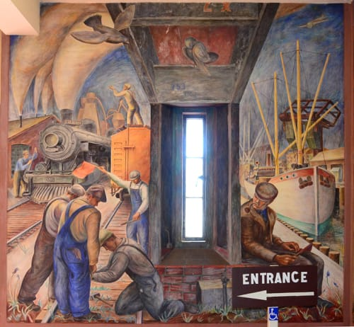 Murals by William Hesthal seen at Coit Tower, San Francisco - Railroad and Shipping