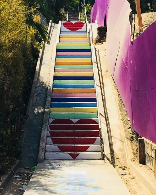 Street Murals by Carla O'Brien at Micheltorena Street, Los Angeles - Stair Candy
