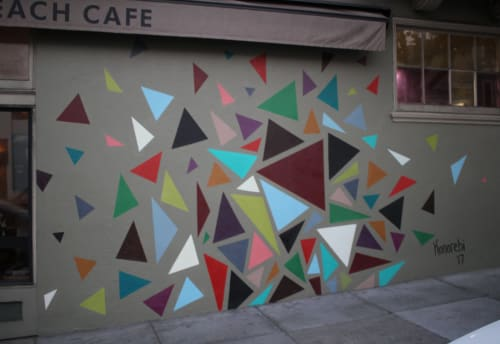 Murals by Nora Bruhn (Konorebi) seen at Mission Beach Cafe, San Francisco - Catapulting Triangles