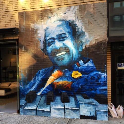 Street Murals by Aron Belka seen at 188 Lafayette Street, SoHo, New York - Allen Toussaint Mural
