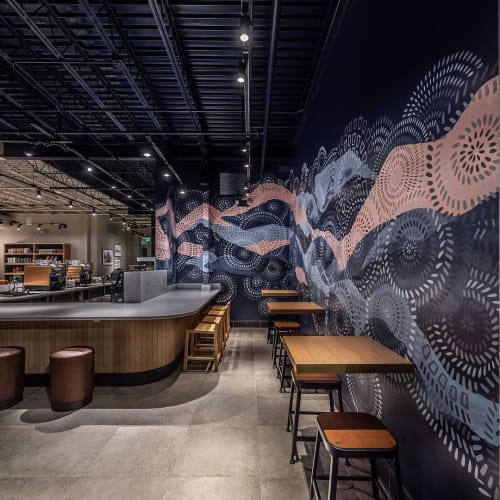 Murals by Milagros Art Collective seen at Starbucks, New Orleans - Mural