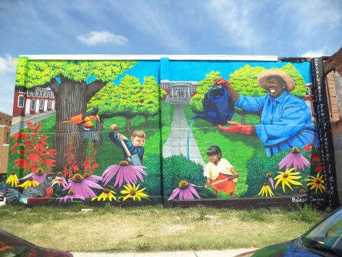 Street Murals by Bridget Cimino seen at North Lakewood Avenue & East Fayette Street, Baltimore - Raingarden