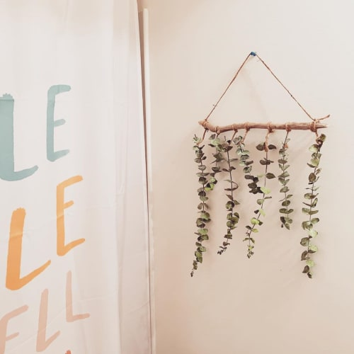 Wall Hangings by Rosie the Wanderer seen at Private Residence, Charleston - Eucalyptus Wall Hanging