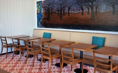 Chairs by Rios Clementi Hale Studios seen at Cafe Gratitude Larchmont, Los Angeles - Natural Wood Seating
