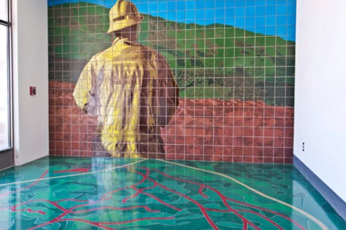 Public Mosaics by Steve Farley seen at Los Angeles County Fire Station 150, Santa Clarita - Keeping Watch