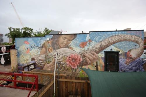 Murals by Aaron Glasson seen at VOLCOM GARDEN, Austin - The Crane Keeper