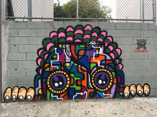 Street Murals by FUNQEST seen at 3rd Avenue, East Harlem, New York - Harlem
