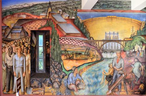 Murals by John Langley Howard seen at Coit Tower, San Francisco - California Industrial Scenes