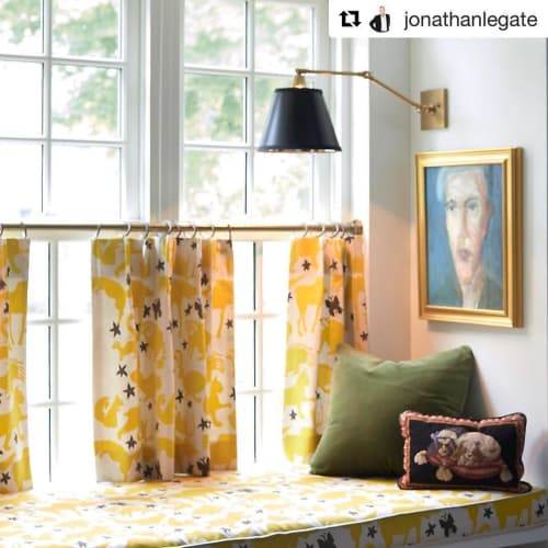 Curtains & Drapes by Marilyn Smulders seen at Private Residence, Halifax - Window seat, curtain, and piano bench
