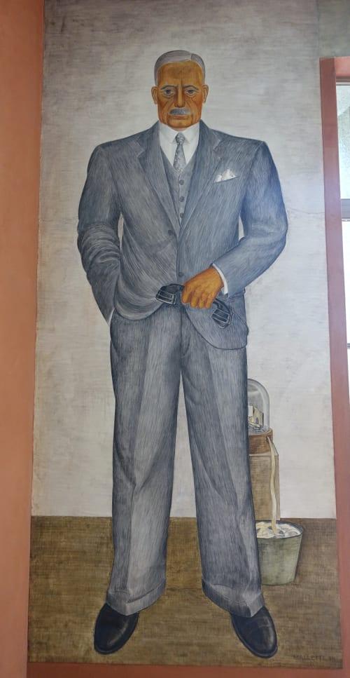 Murals by Mallette (Harold) Dean seen at Coit Tower, San Francisco - Stockbroker